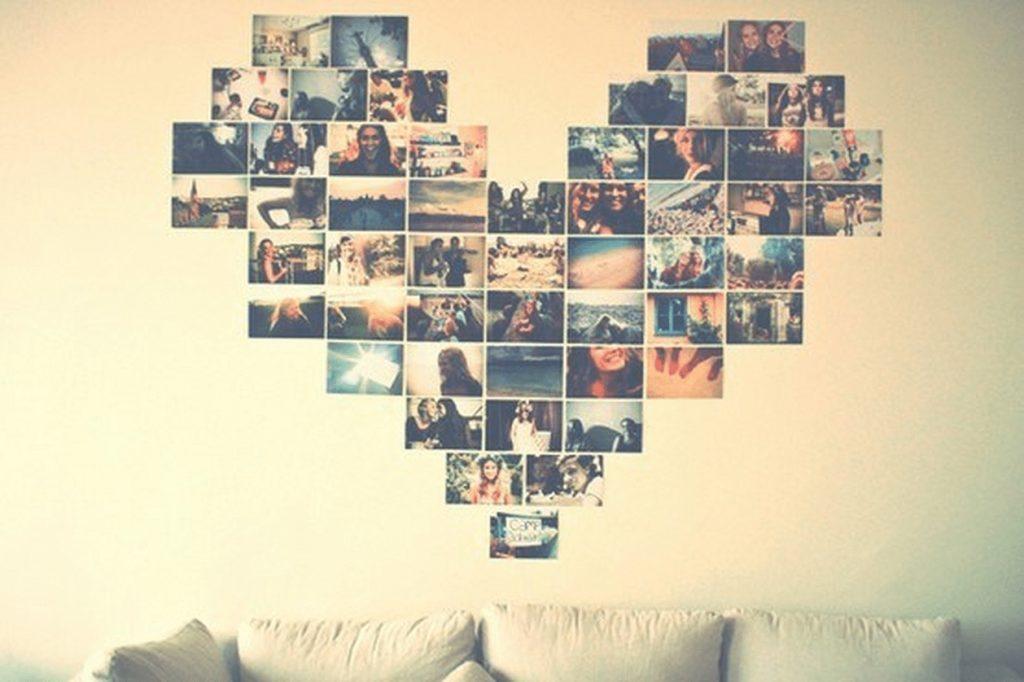 Mural de fotos em forma de coração.